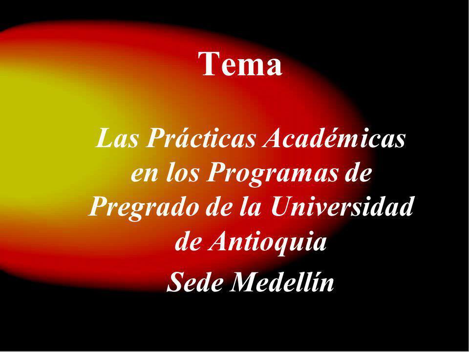 Tema Las Prácticas Académicas en los Programas de Pregrado de la Universidad de Antioquia Sede Medellín