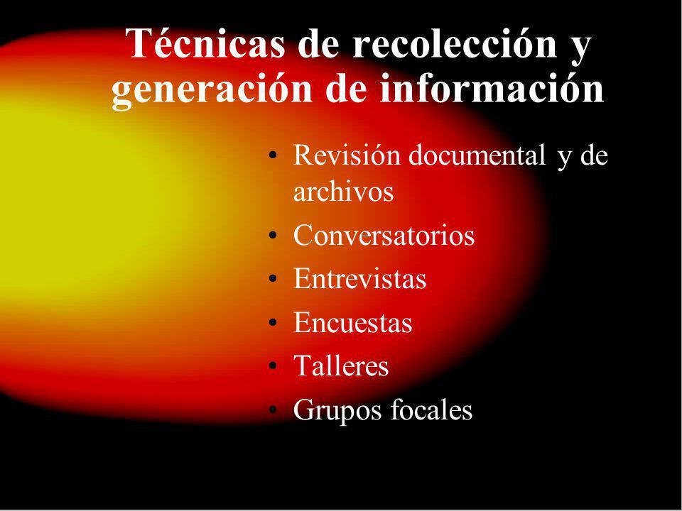 Técnicas de recolección y generación de información Revisión documental y de archivos Conversatorios Entrevistas Encuestas Talleres Grupos focales