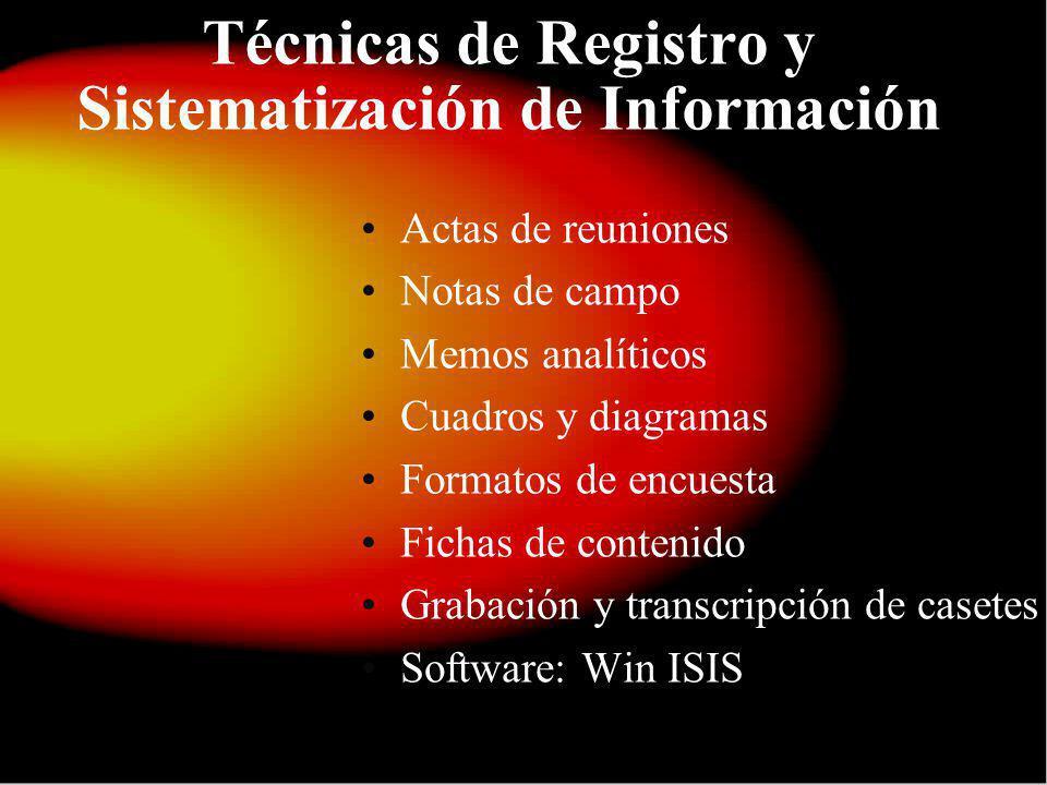 Técnicas de Registro y Sistematización de Información Actas de reuniones Notas de campo Memos analíticos Cuadros y diagramas Formatos de encuesta Fichas de contenido Grabación y transcripción de casetes Software: Win ISIS