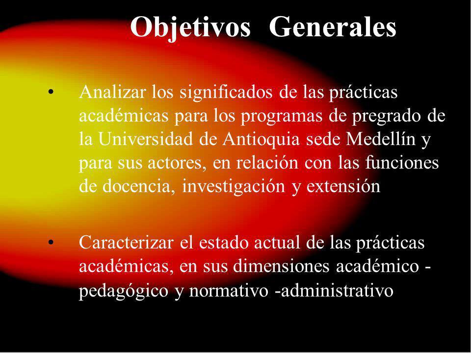 Objetivos Generales Analizar los significados de las prácticas académicas para los programas de pregrado de la Universidad de Antioquia sede Medellín y para sus actores, en relación con las funciones de docencia, investigación y extensión Caracterizar el estado actual de las prácticas académicas, en sus dimensiones académico - pedagógico y normativo -administrativo