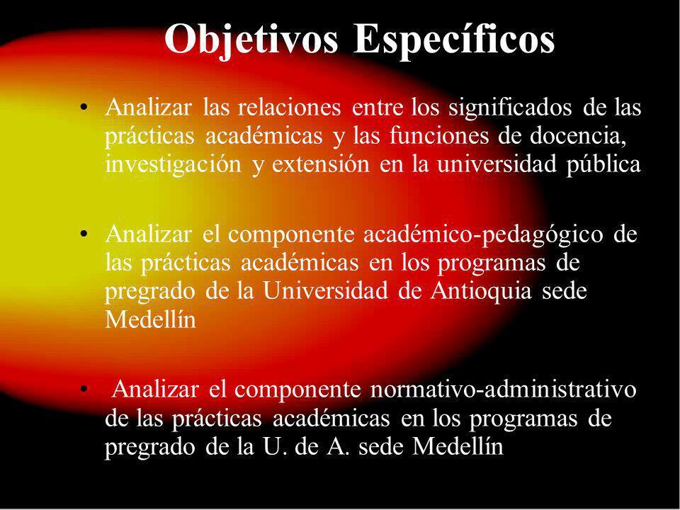 Objetivos Específicos Analizar las relaciones entre los significados de las prácticas académicas y las funciones de docencia, investigación y extensió