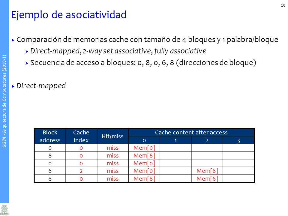 ISI374 - Arquitectura de Computadores (2010-1) Ejemplo de asociatividad 10 Comparación de memorias cache con tamaño de 4 bloques y 1 palabra/bloque Direct-mapped, 2-way set associative, fully associative Secuencia de acceso a bloques: 0, 8, 0, 6, 8 (direcciones de bloque) Direct-mapped Block address Cache index Hit/miss Cache content after access 0123 00missMem[0] 80missMem[8] 00missMem[0] 62missMem[0]Mem[6] 80missMem[8]Mem[6]
