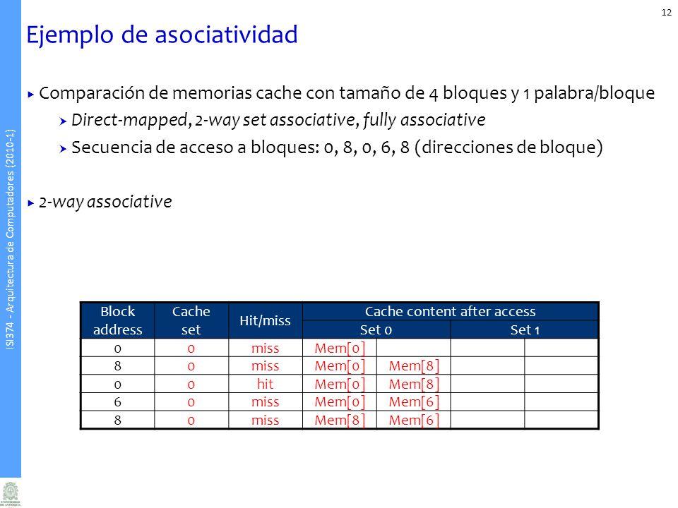 ISI374 - Arquitectura de Computadores (2010-1) Ejemplo de asociatividad 12 Comparación de memorias cache con tamaño de 4 bloques y 1 palabra/bloque Direct-mapped, 2-way set associative, fully associative Secuencia de acceso a bloques: 0, 8, 0, 6, 8 (direcciones de bloque) 2-way associative Block address Cache set Hit/miss Cache content after access Set 0Set 1 00missMem[0] 80missMem[0]Mem[8] 00hitMem[0]Mem[8] 60missMem[0]Mem[6] 80missMem[8]Mem[6]