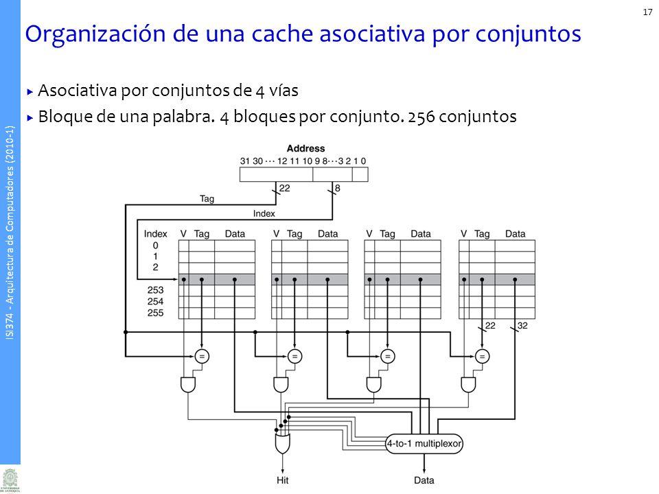 ISI374 - Arquitectura de Computadores (2010-1) Organización de una cache asociativa por conjuntos 17 Asociativa por conjuntos de 4 vías Bloque de una palabra.