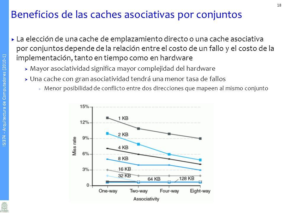 ISI374 - Arquitectura de Computadores (2010-1) Beneficios de las caches asociativas por conjuntos 18 La elección de una cache de emplazamiento directo o una cache asociativa por conjuntos depende de la relación entre el costo de un fallo y el costo de la implementación, tanto en tiempo como en hardware Mayor asociatividad significa mayor complejidad del hardware Una cache con gran asociatividad tendrá una menor tasa de fallos » Menor posibilidad de conflicto entre dos direcciones que mapeen al mismo conjunto