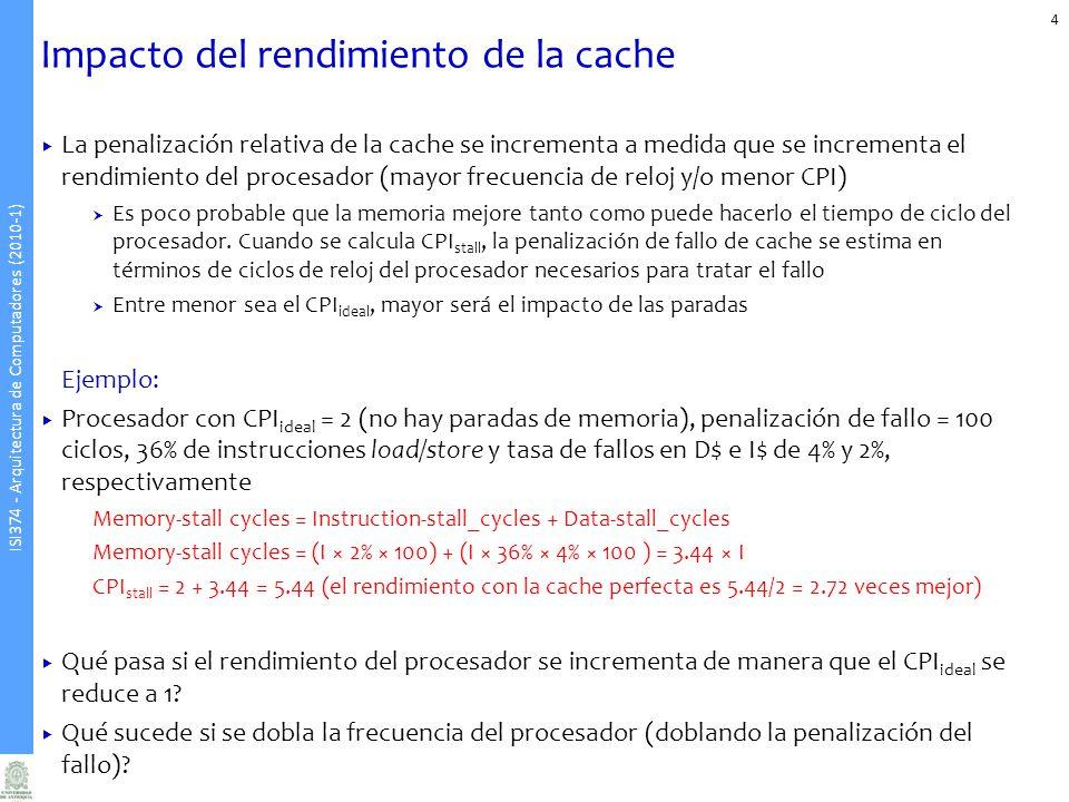 ISI374 - Arquitectura de Computadores (2010-1) Tiempo medio de acceso a memoria 5 Hasta ahora, asumimos que el tiempo de acierto no influye en el rendimiento de la cache Una cache de mayor tamaño tendrá un tiempo de acceso mayor En pipelines profundos, un incremento en el tiempo de acierto probablemente obligará a agregar una nueva etapa En algún punto, el incremento en el tiempo de acierto para una cache de mayor tamaño predominará sobre lo ganado en tasa de aciertos, degradando el rendimiento Average Memory Access Time (AMAT): tiempo medio de acceso a memoria considerando tanto los aciertos como los fallos AMAT = Hit time + Miss rate × Miss penalty Ej: Cuál es el AMAT para un procesador con un tiempo de ciclo de reloj de 20 ns, una penalización de fallo de 50 ciclos de reloj, una tasa de aciertos del 98% por instrucción y un tiempo de acierto de 1 ciclo de reloj?