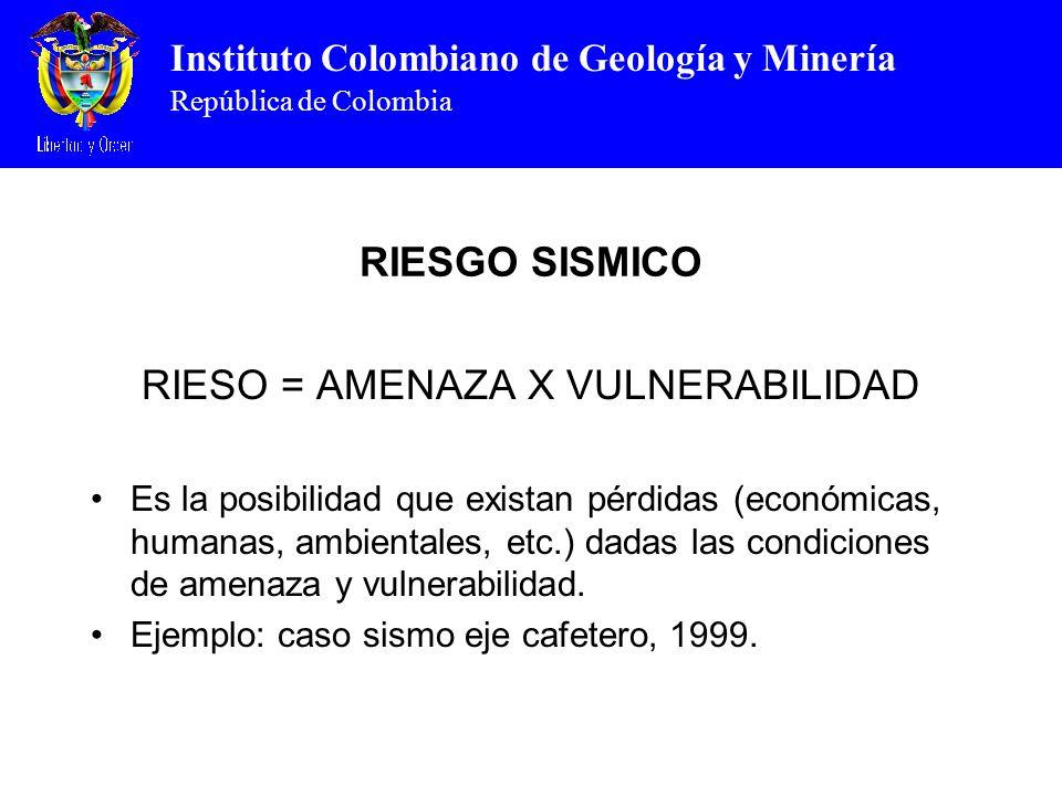 Instituto Colombiano de Geología y Minería República de Colombia RIESGO SISMICO RIESO = AMENAZA X VULNERABILIDAD Es la posibilidad que existan pérdidas (económicas, humanas, ambientales, etc.) dadas las condiciones de amenaza y vulnerabilidad.