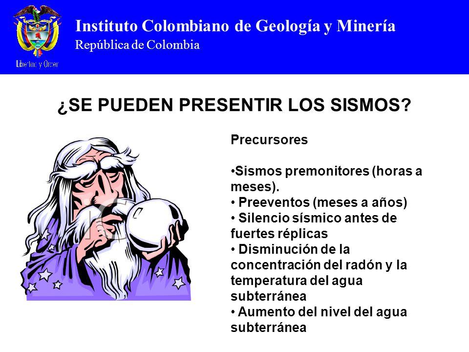 Instituto Colombiano de Geología y Minería República de Colombia ¿SE PUEDEN PRESENTIR LOS SISMOS? Precursores Sismos premonitores (horas a meses). Pre