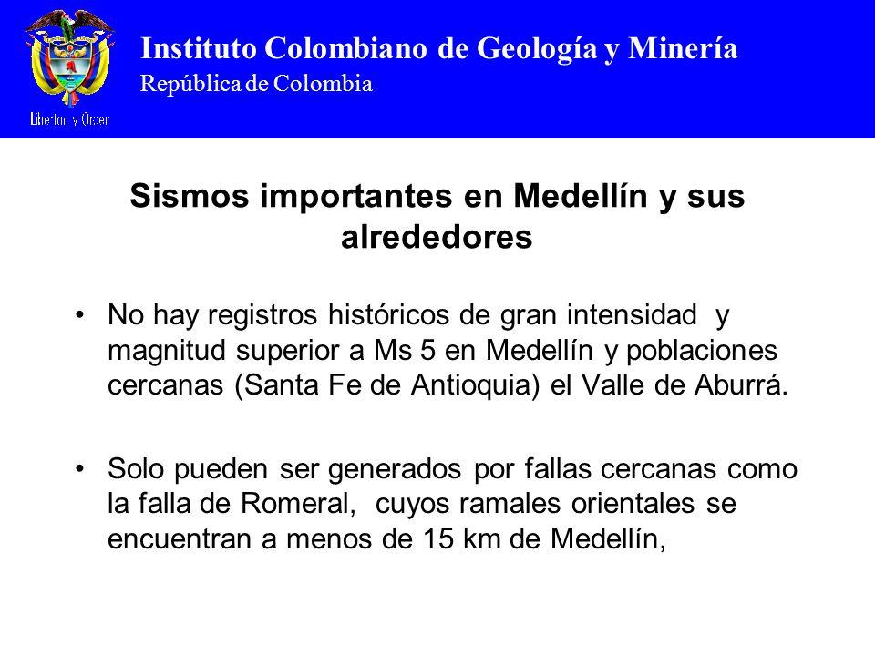 Instituto Colombiano de Geología y Minería República de Colombia Sismos importantes en Medellín y sus alrededores No hay registros históricos de gran intensidad y magnitud superior a Ms 5 en Medellín y poblaciones cercanas (Santa Fe de Antioquia) el Valle de Aburrá.