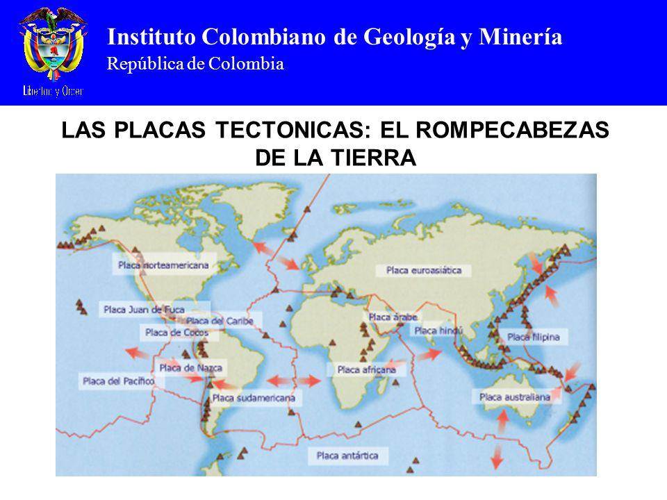 Instituto Colombiano de Geología y Minería República de Colombia LAS PLACAS TECTONICAS: EL ROMPECABEZAS DE LA TIERRA