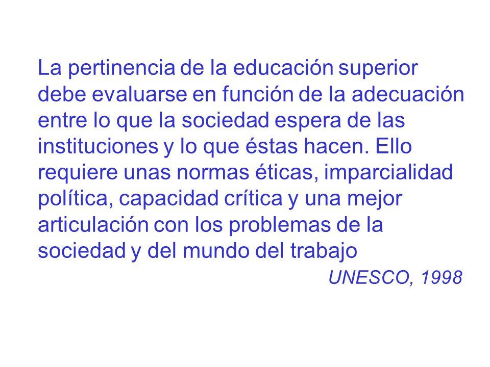 La pertinencia de la educación superior debe evaluarse en función de la adecuación entre lo que la sociedad espera de las instituciones y lo que éstas