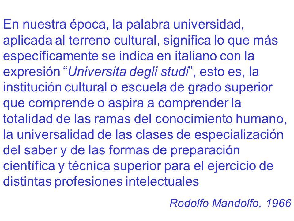 En nuestra época, la palabra universidad, aplicada al terreno cultural, significa lo que más específicamente se indica en italiano con la expresión Un
