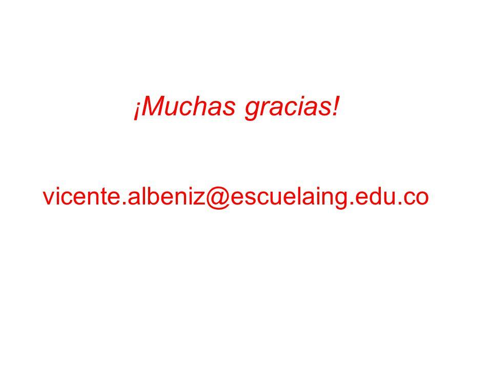 ¡ Muchas gracias! vicente.albeniz@escuelaing.edu.co