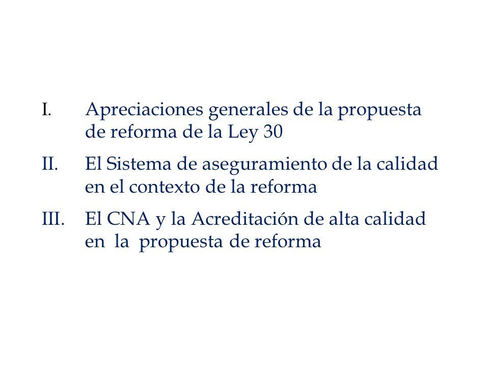 I. Apreciaciones generales de la propuesta de reforma de la Ley 30 II.El Sistema de aseguramiento de la calidad en el contexto de la reforma III.El CN