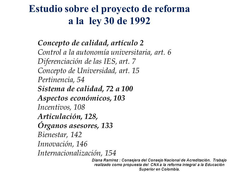 Estudio sobre el proyecto de reforma a la ley 30 de 1992 Concepto de calidad, artículo 2 Control a la autonomía universitaria, art.