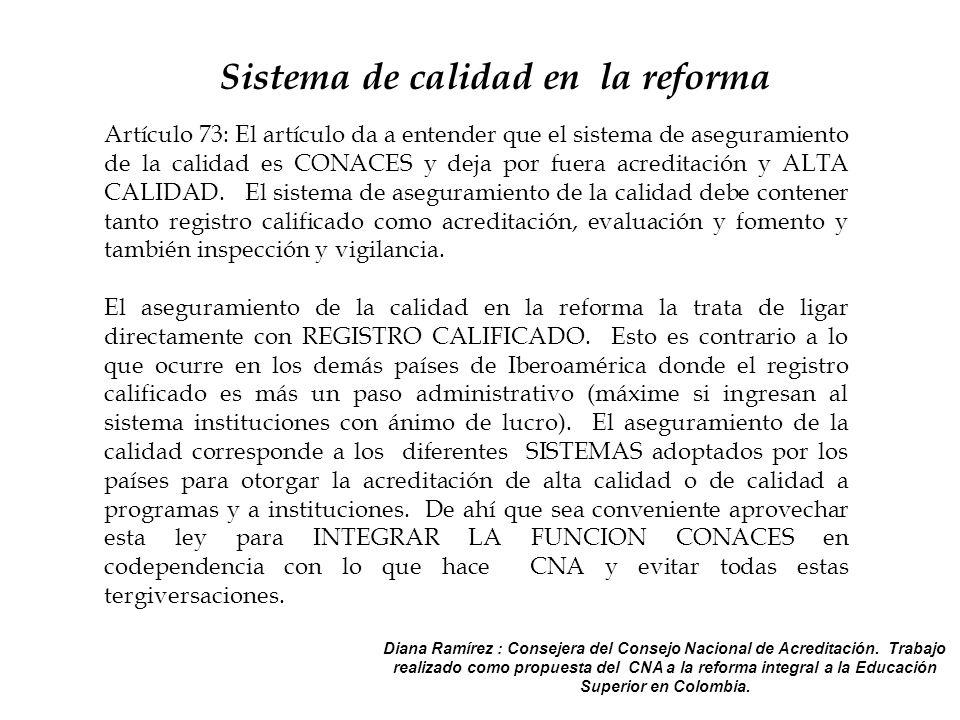 Artículo 73: El artículo da a entender que el sistema de aseguramiento de la calidad es CONACES y deja por fuera acreditación y ALTA CALIDAD.