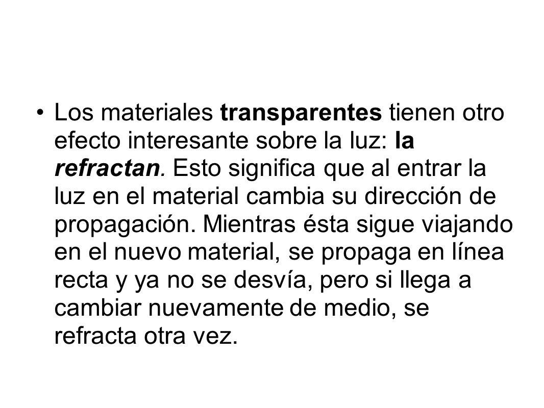Los materiales transparentes tienen otro efecto interesante sobre la luz: la refractan. Esto significa que al entrar la luz en el material cambia su d