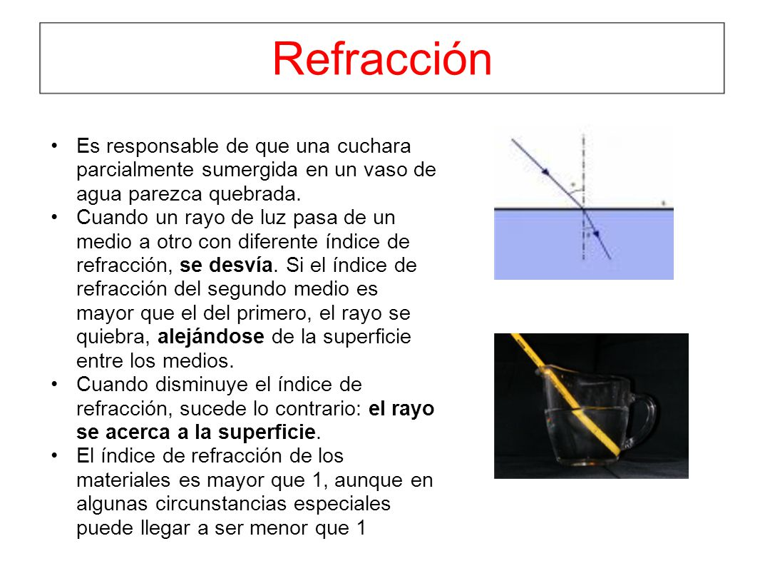 Refracción Es responsable de que una cuchara parcialmente sumergida en un vaso de agua parezca quebrada. Cuando un rayo de luz pasa de un medio a otro