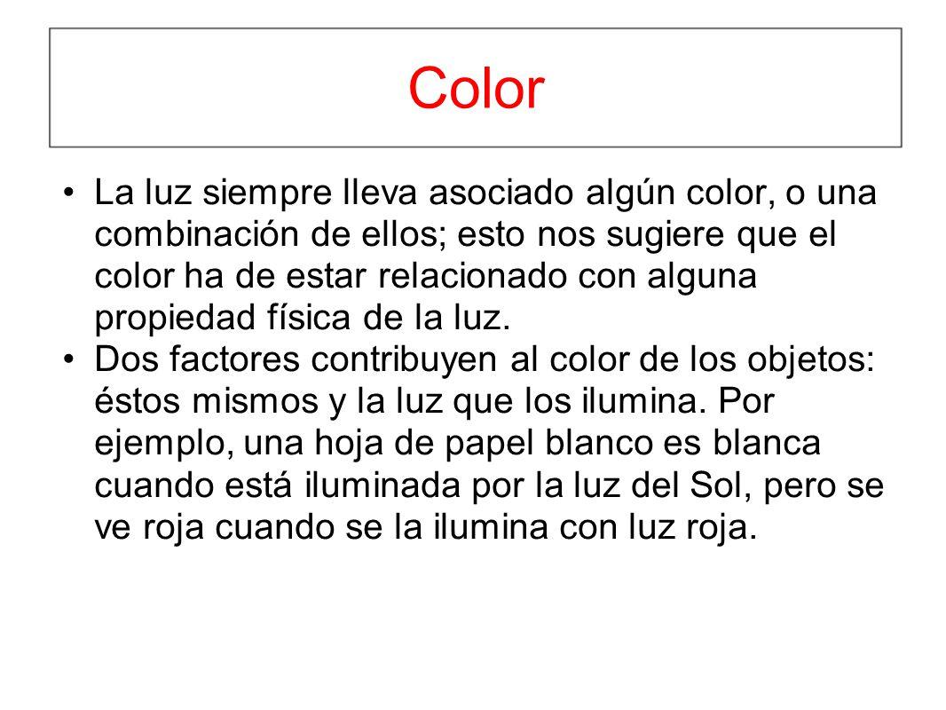 Color La luz siempre lleva asociado algún color, o una combinación de ellos; esto nos sugiere que el color ha de estar relacionado con alguna propieda