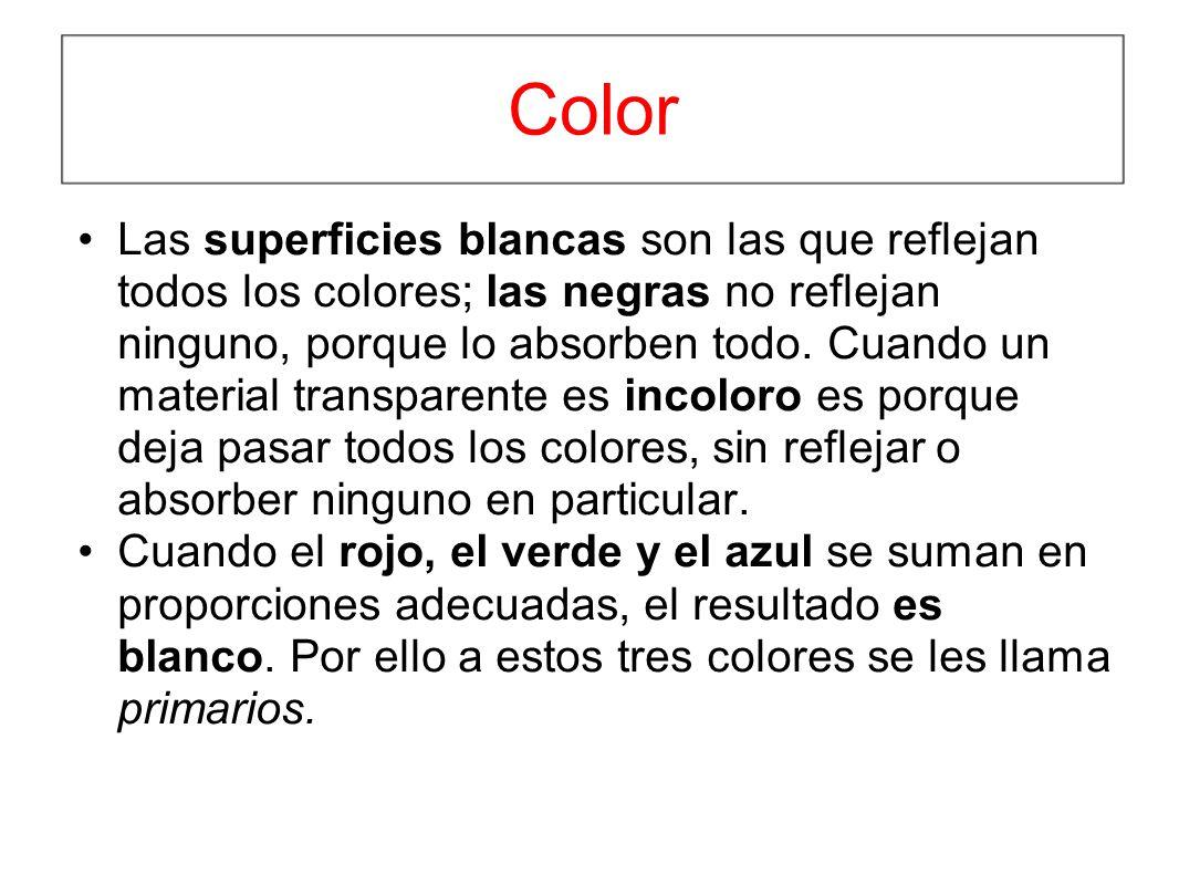 Color Las superficies blancas son las que reflejan todos los colores; las negras no reflejan ninguno, porque lo absorben todo. Cuando un material tran