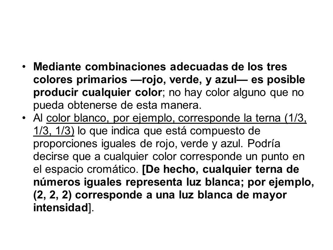 Mediante combinaciones adecuadas de los tres colores primarios rojo, verde, y azul es posible producir cualquier color; no hay color alguno que no pue