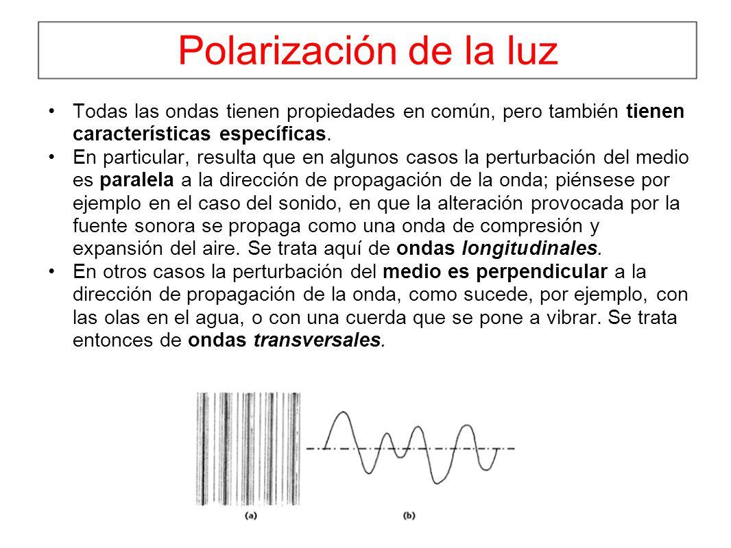 Polarización de la luz Todas las ondas tienen propiedades en común, pero también tienen características específicas. En particular, resulta que en alg