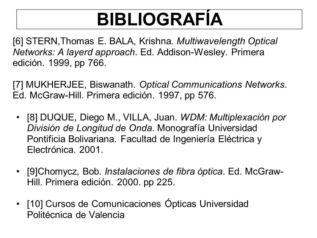 BIBLIOGRAFÍA [6] STERN,Thomas E. BALA, Krishna. Multiwavelength Optical Networks: A layerd approach. Ed. Addison-Wesley. Primera edición. 1999, pp 766