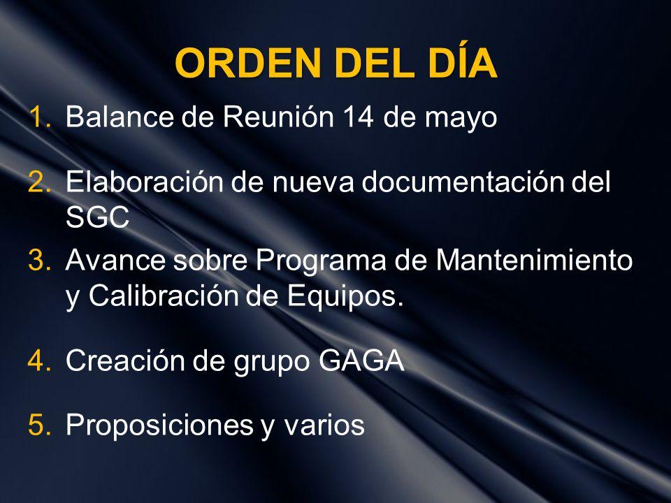 ORDEN DEL DÍA 1.Balance de Reunión 14 de mayo 2.Elaboración de nueva documentación del SGC 3.Avance sobre Programa de Mantenimiento y Calibración de E
