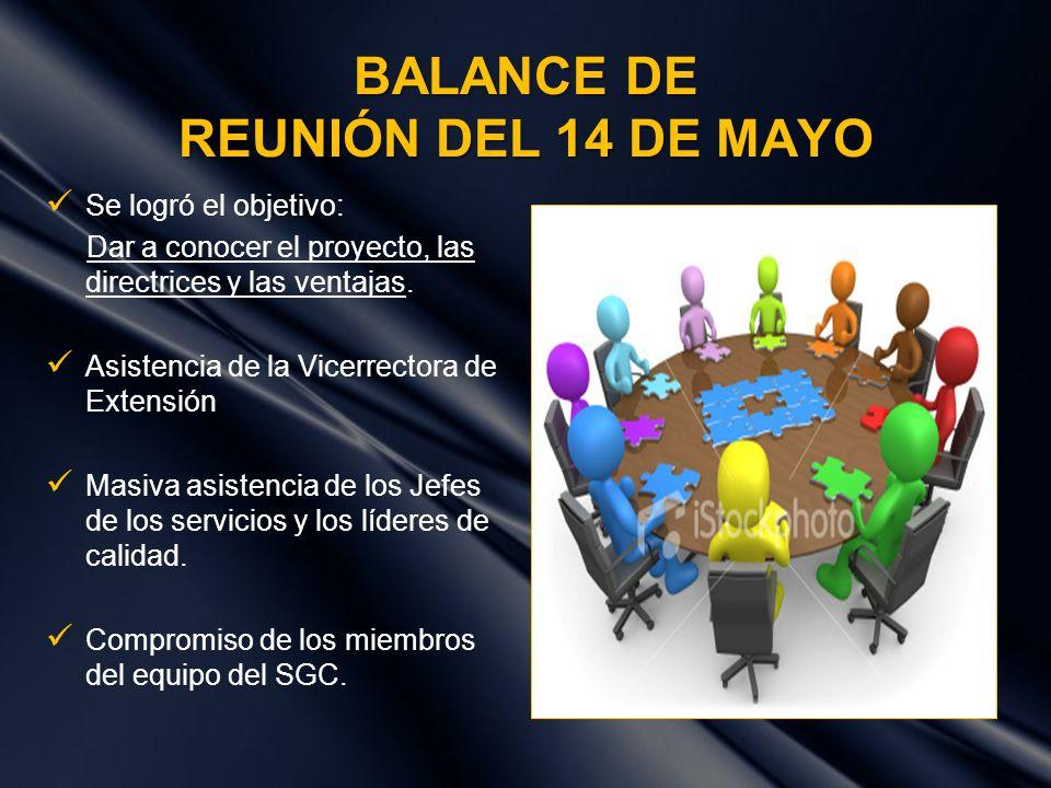 BALANCE DE REUNIÓN DEL 14 DE MAYO Se logró el objetivo: Dar a conocer el proyecto, las directrices y las ventajas. Asistencia de la Vicerrectora de Ex