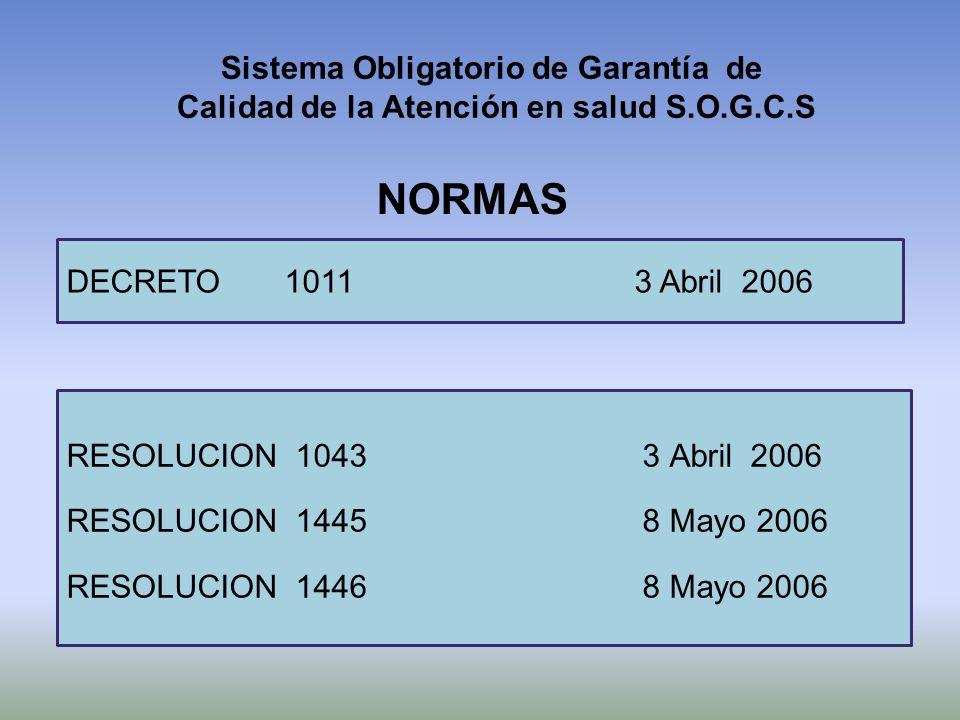 Sistema Obligatorio de Garantía de Calidad de la Atención en salud S.O.G.C.S NORMAS DECRETO 1011 3 Abril 2006 RESOLUCION 10433 Abril 2006 RESOLUCION 1