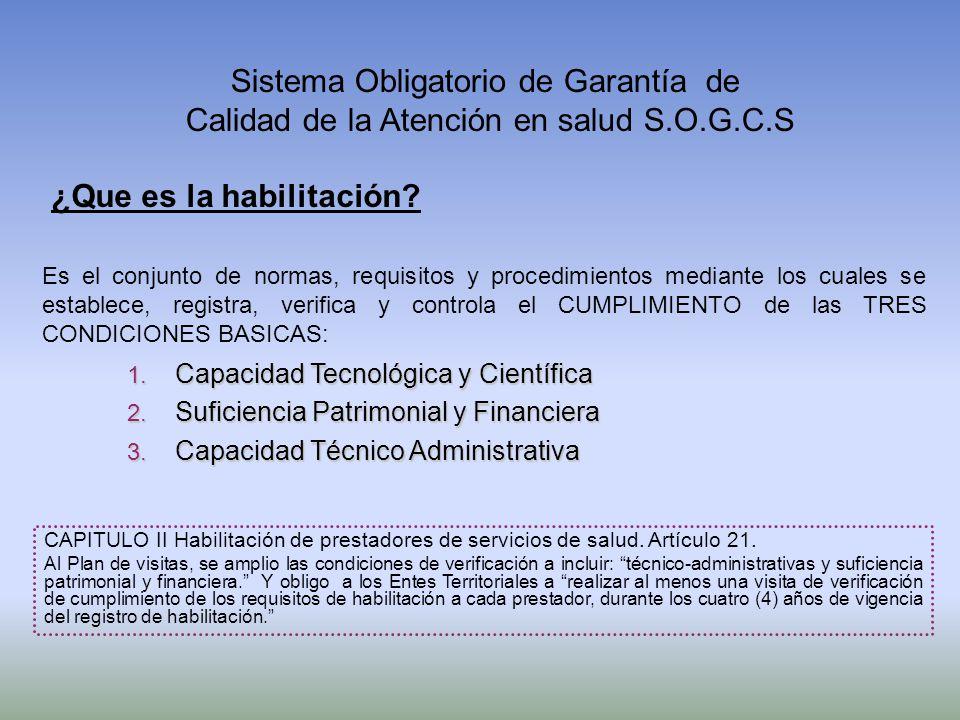 1. Capacidad Tecnológica y Científica 2. Suficiencia Patrimonial y Financiera 3. Capacidad Técnico Administrativa Es el conjunto de normas, requisitos