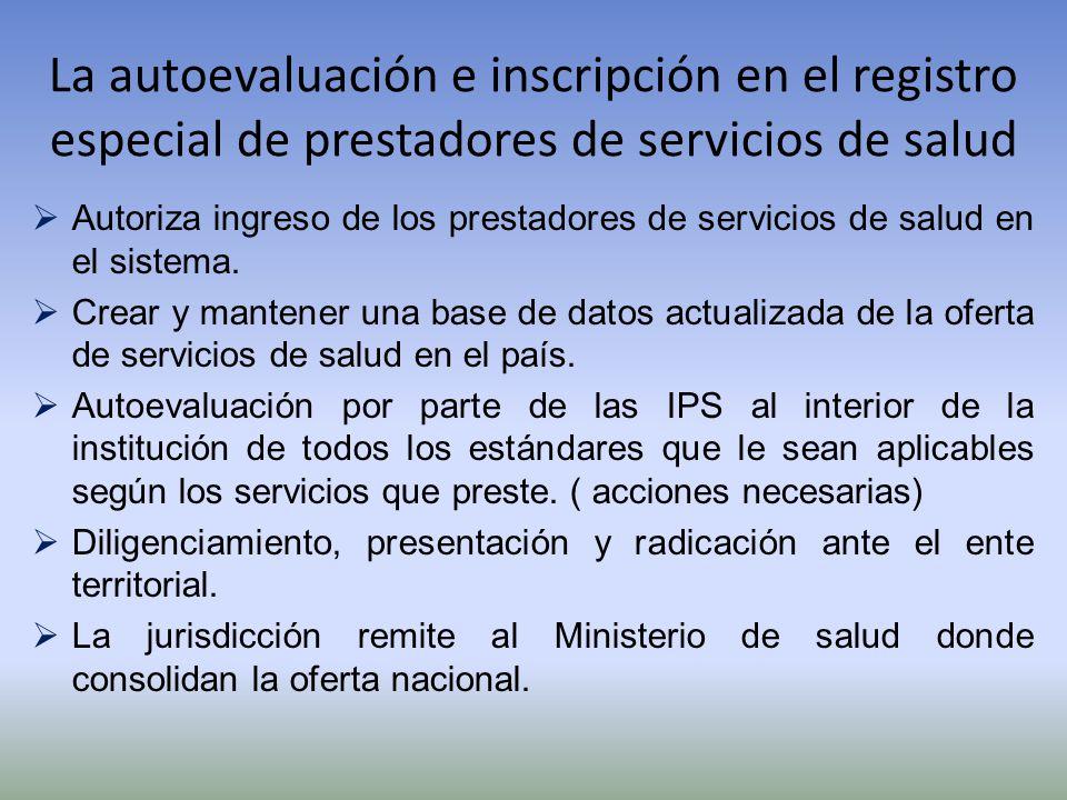 La autoevaluación e inscripción en el registro especial de prestadores de servicios de salud Autoriza ingreso de los prestadores de servicios de salud
