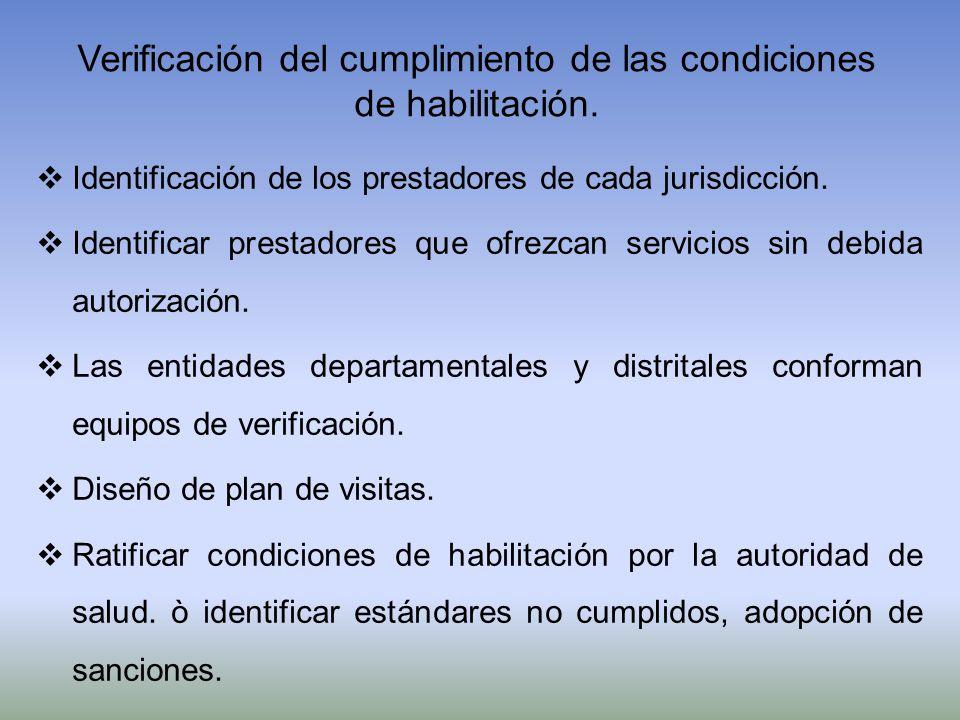 Verificación del cumplimiento de las condiciones de habilitación. Identificación de los prestadores de cada jurisdicción. Identificar prestadores que