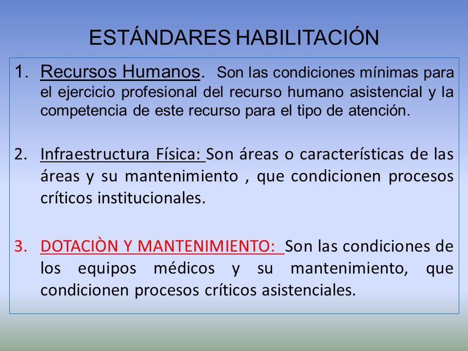 ESTÁNDARES HABILITACIÓN 1.Recursos Humanos. Son las condiciones mínimas para el ejercicio profesional del recurso humano asistencial y la competencia