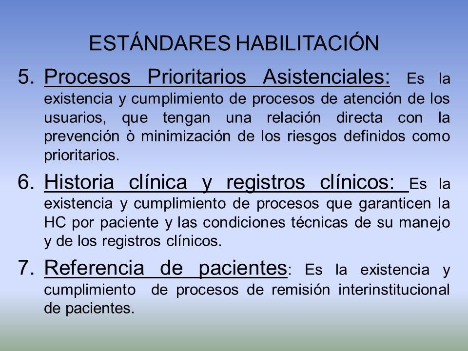 ESTÁNDARES HABILITACIÓN 5.Procesos Prioritarios Asistenciales: Es la existencia y cumplimiento de procesos de atención de los usuarios, que tengan una