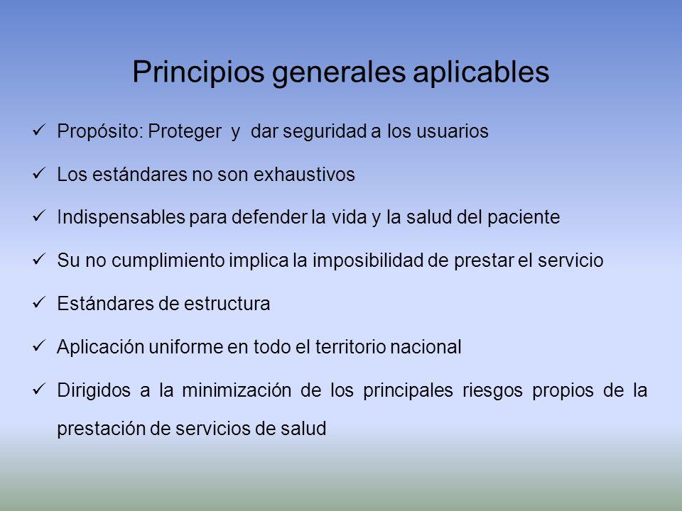 Principios generales aplicables Propósito: Proteger y dar seguridad a los usuarios Los estándares no son exhaustivos Indispensables para defender la v