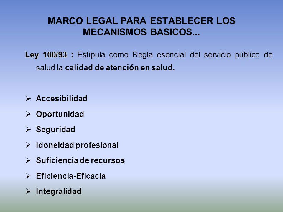 MARCO LEGAL PARA ESTABLECER LOS MECANISMOS BASICOS... Ley 100/93 : Ley 100/93 : Estipula como Regla esencial del servicio público de salud la calidad