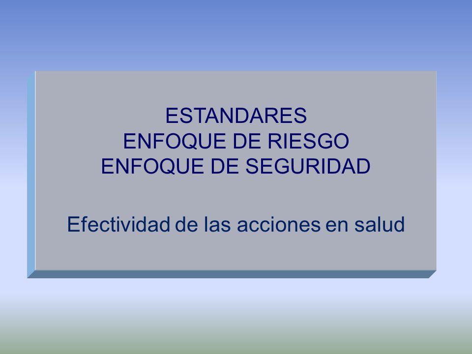 ESTANDARES ENFOQUE DE RIESGO ENFOQUE DE SEGURIDAD Efectividad de las acciones en salud