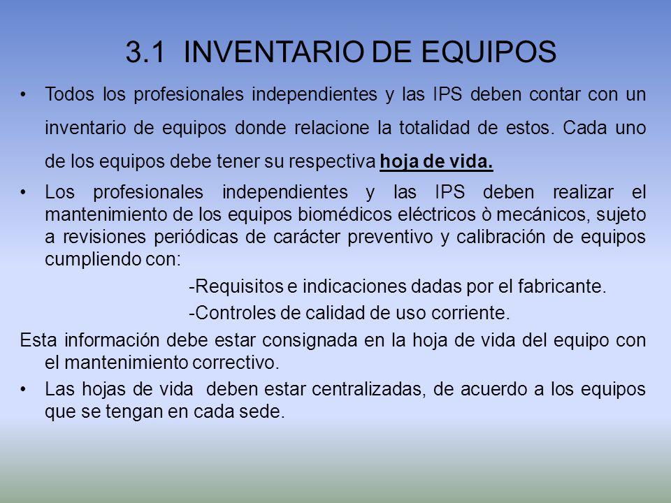 3.1 INVENTARIO DE EQUIPOS Todos los profesionales independientes y las IPS deben contar con un inventario de equipos donde relacione la totalidad de e