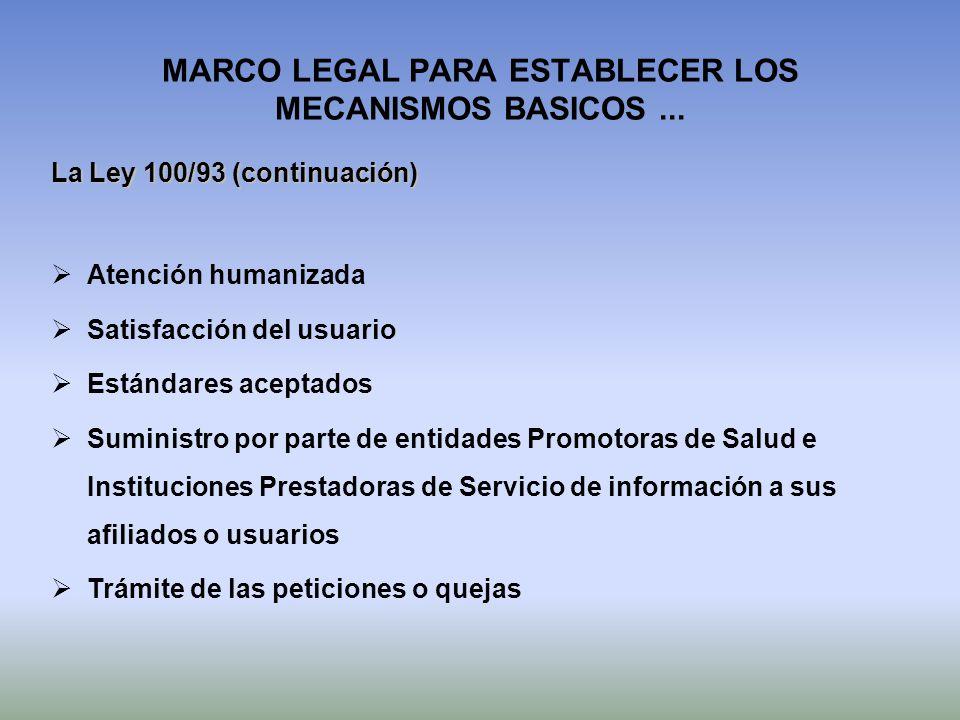 MARCO LEGAL PARA ESTABLECER LOS MECANISMOS BASICOS... La Ley 100/93 (continuación) Atención humanizada Satisfacción del usuario Estándares aceptados S