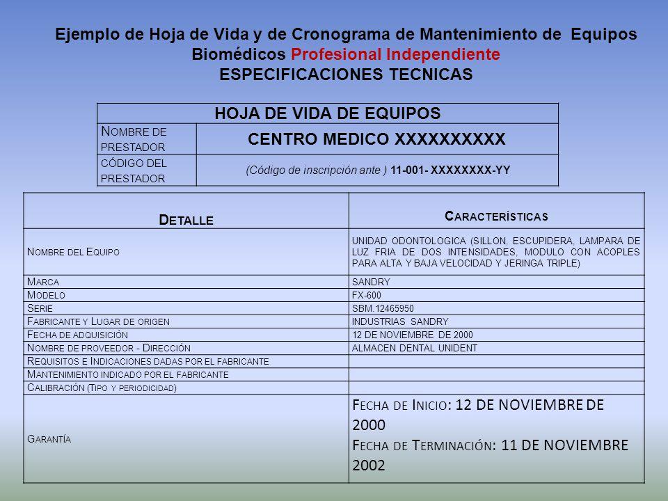 HOJA DE VIDA DE EQUIPOS N OMBRE DE PRESTADOR CENTRO MEDICO XXXXXXXXXX CÓDIGO DEL PRESTADOR (Código de inscripción ante ) 11-001- XXXXXXXX-YY D ETALLE
