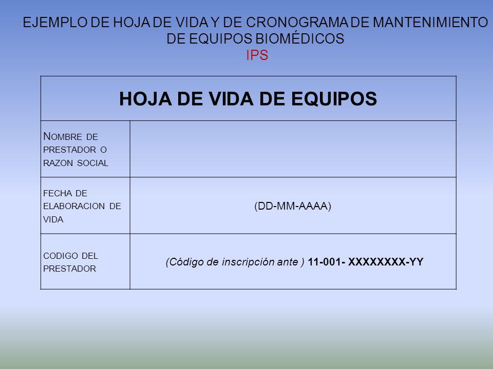 HOJA DE VIDA DE EQUIPOS N OMBRE DE PRESTADOR O RAZON SOCIAL FECHA DE ELABORACION DE VIDA (DD-MM-AAAA) CODIGO DEL PRESTADOR (Código de inscripción ante