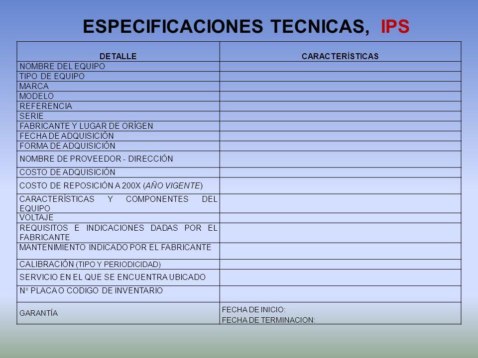DETALLECARACTERÍSTICAS NOMBRE DEL EQUIPO TIPO DE EQUIPO MARCA MODELO REFERENCIA SERIE FABRICANTE Y LUGAR DE ORÍGEN FECHA DE ADQUISICIÓN FORMA DE ADQUI