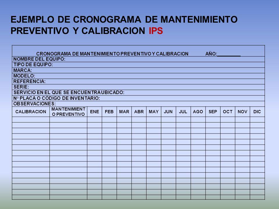 CRONOGRAMA DE MANTENIMIENTO PREVENTIVO Y CALIBRACION AÑO:_________ NOMBRE DEL EQUIPO: TIPO DE EQUIPO: MARCA: MODELO: REFERENCIA: SERIE: SERVICIO EN EL