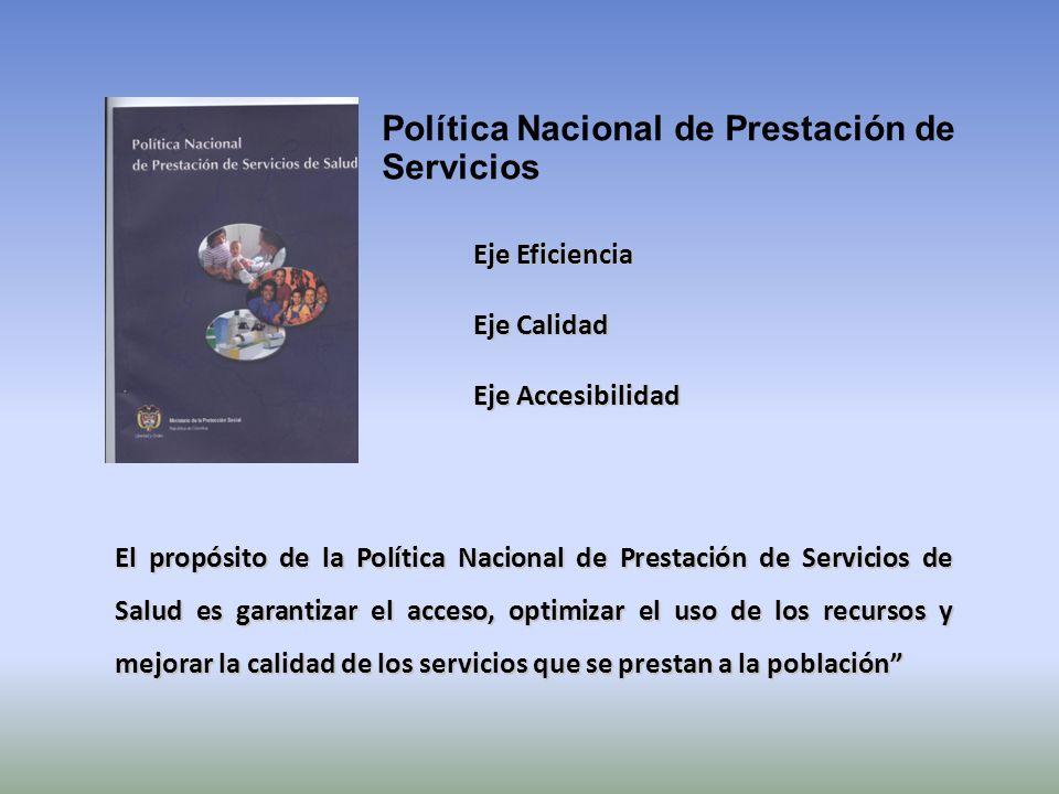 Política Nacional de Prestación de Servicios Eje Eficiencia Eje Calidad Eje Accesibilidad El propósito de la Política Nacional de Prestación de Servic