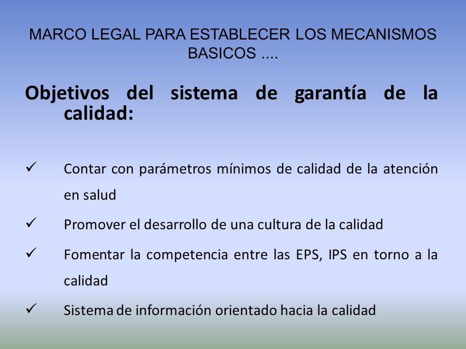 MARCO LEGAL PARA ESTABLECER LOS MECANISMOS BASICOS.... Objetivos del sistema de garantía de la calidad: Contar con parámetros mínimos de calidad de la