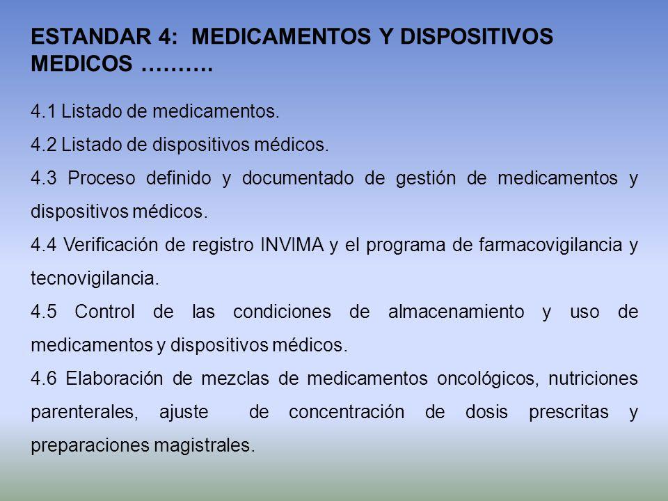 4.1 Listado de medicamentos. 4.2 Listado de dispositivos médicos. 4.3 Proceso definido y documentado de gestión de medicamentos y dispositivos médicos