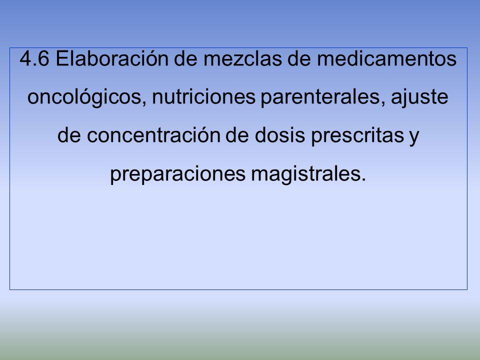 4.6 Elaboración de mezclas de medicamentos oncológicos, nutriciones parenterales, ajuste de concentración de dosis prescritas y preparaciones magistra