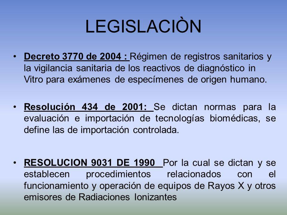 LEGISLACIÒN Decreto 3770 de 2004 : Régimen de registros sanitarios y la vigilancia sanitaria de los reactivos de diagnóstico in Vitro para exámenes de