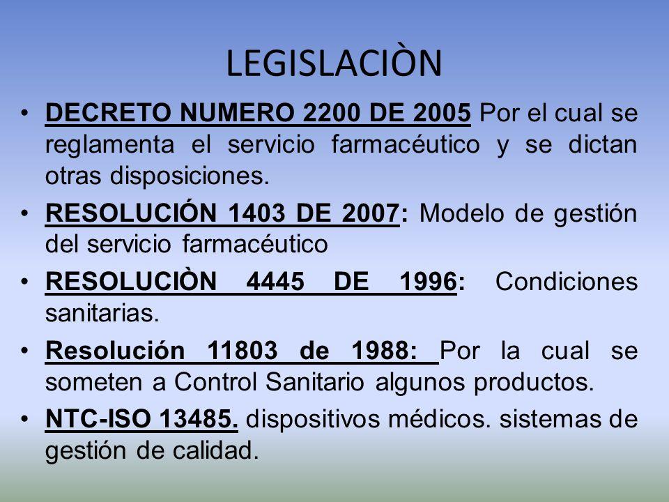 LEGISLACIÒN DECRETO NUMERO 2200 DE 2005 Por el cual se reglamenta el servicio farmacéutico y se dictan otras disposiciones. RESOLUCIÓN 1403 DE 2007: M